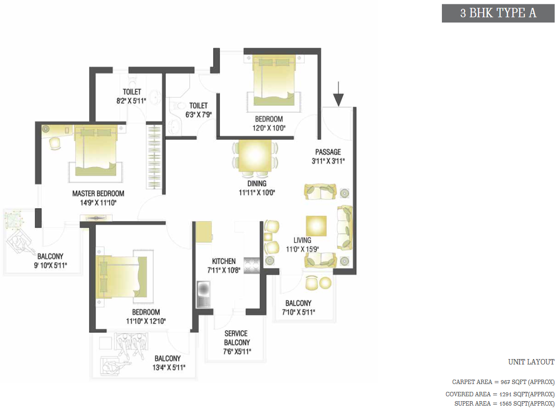 3 BHK Type A