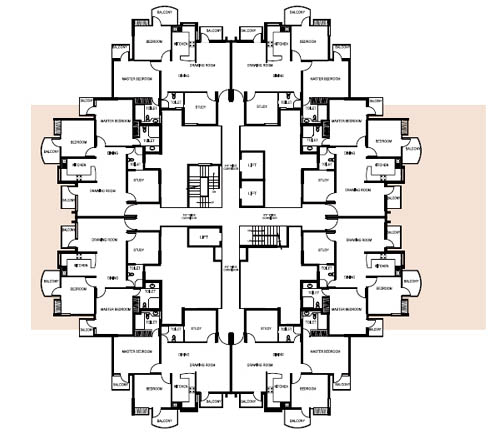 1303 Sq.Ft Tower Layout