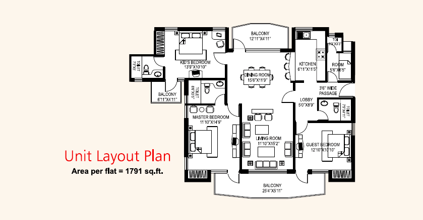 3 BHK with Servant (1791 Sq.Ft)