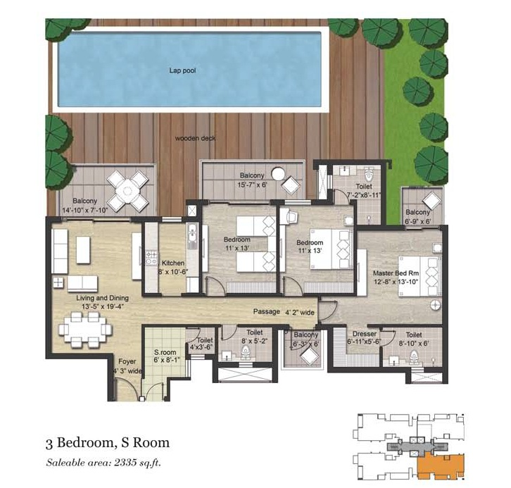 3BHK AND SERVANT ( 2335 SQ.FT)
