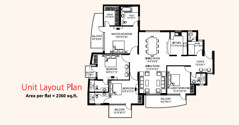 4 BHK with Servant(2360 Sq.Ft)