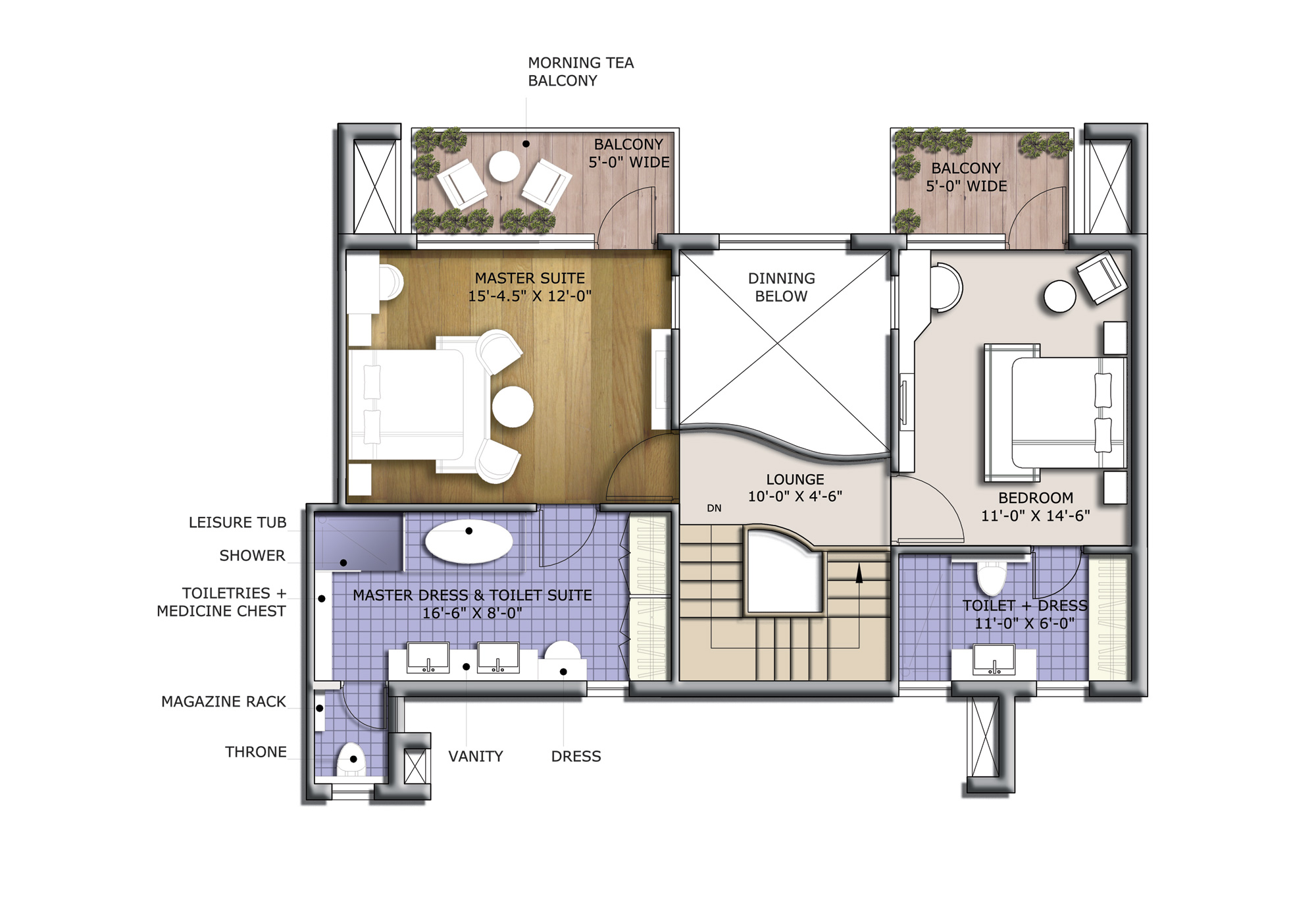 3 BHK with Family Lounge 2440 sq.ft. (Twr.L and M)
