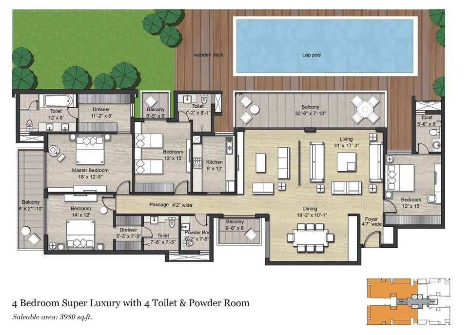 4 BHK AND SERVANT ( 3980 SQ.FT)